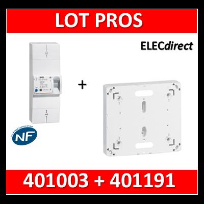 Legrand - Disjoncteur de branchement EDF 15/45A sélectif + platine disjoncteur bipolaire - 401003+401191