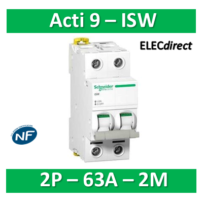 Schneider - Interrupteur-sectionneur bipolaire 63A - Acti9 - ISW - A9S65263