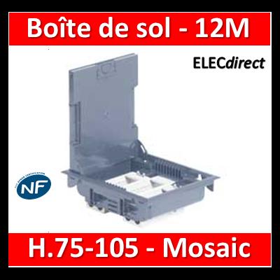 Legrand - Boîte de sol 75-105 - à équiper - 12M - Couvercle INOX gris  RAL7031 - 089605