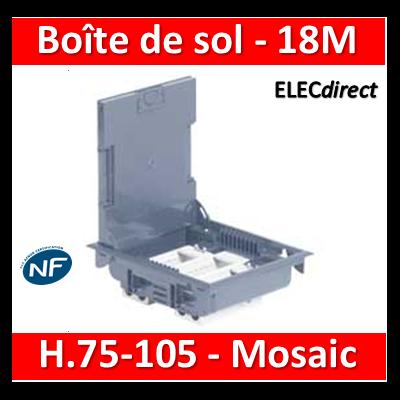 Legrand - Boîte de sol 75-105 - à équiper - 18M - Couvercle INOX gris  RAL7031 - 089610