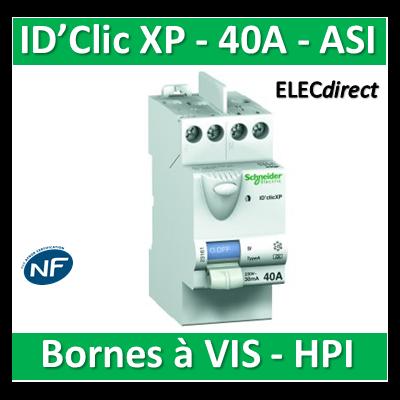 SCHNEIDER - Inter différentiel  D'CLIC XP 2P - 40A - 30ma - Type ASI (HPI) -  23161