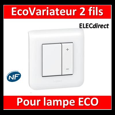Legrand Mosaic - Interrupteur variateur ECOvariateur 2 fils 400W - 078407+080251+078802