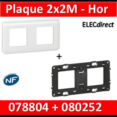 Legrand Mosaic - Plaque 2 x 2 modules + support - 2 postes - horizontal - 078804+080252