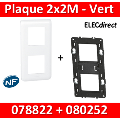 Legrand Mosaic - Plaque 2 x 2 modules + support - 2 postes - vertical - 078822L+080252
