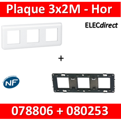 Legrand Mosaic - Plaque 3 x 2 modules + support - 2 postes - horizontal - 078806L+080253