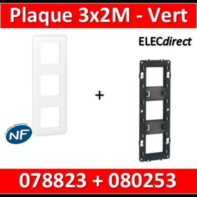 Legrand Mosaic - Plaque 3 x 2 modules + support - 2 postes  - vertical - 078823+080253