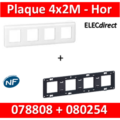 Legrand Mosaic - Plaque 4 x 2 modules + support - 2 postes - horizontal - 078808+080254