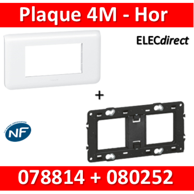 Legrand Mosaic - Plaque 4 modules + support - horizontal - 078814+080252