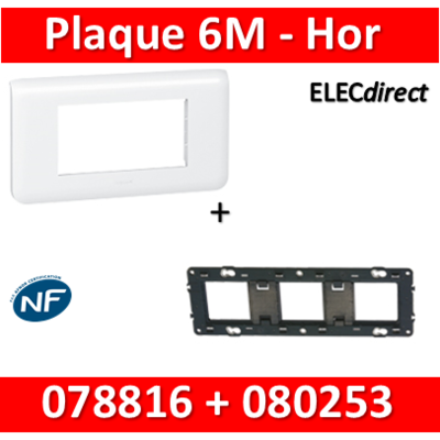 Legrand Mosaic - Plaque 6 modules + support - horizontal - 078816+080253