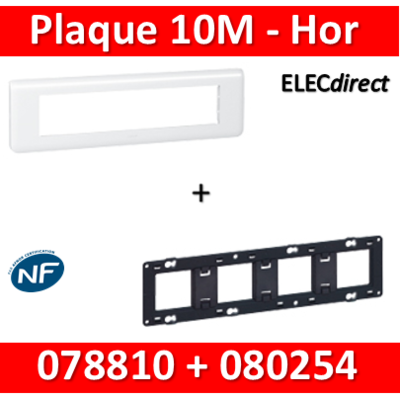 Legrand Mosaic - Plaque 10 modules + support - horizontal - 078810+080254