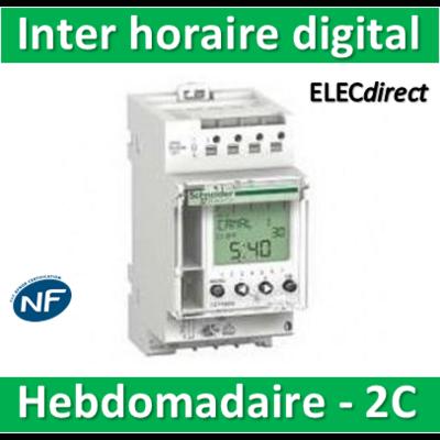 Schneider - Interrupteur horaire digital IHP'Clic hebdomadaire avec réserve de marche - 2 canaux - 16652