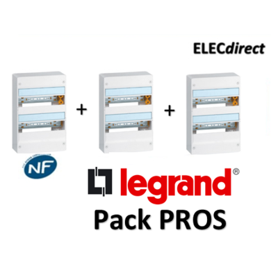 Legrand - Pack PROS - Tableau électrique 2 rangées - 26M - 401212x3