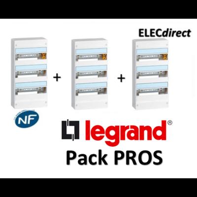 Legrand - Pack PROS - Tableau électrique 3 rangées - 39M - 401213x3