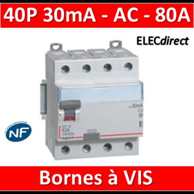 LEGRAND - Interrupteur différentiel DX3-ID 4P 80A - 30mA - AC - 411663