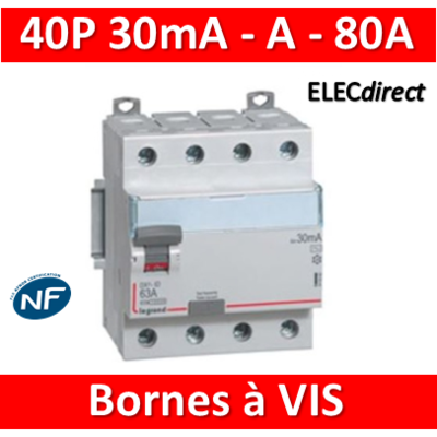 LEGRAND - Interrupteur différentiel DX3-ID 4P 80A - 30mA - A - 411677