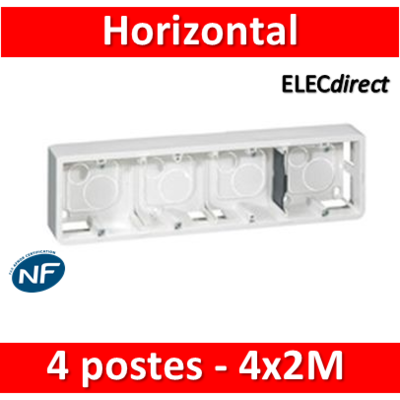 Legrand Mosaic - Cadre saillie 4 postes - 4 x 2 modules - horizontal - 080284