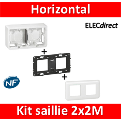 Legrand Mosaic -  Kit Cadre saillie 2 postes - 2 x 2 modules - horizontal - 078804+080285+080252