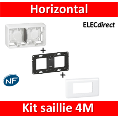 Legrand Mosaic -  Kit Cadre saillie 4 modules - horizontal - 078814+080285+080252