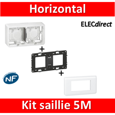 Legrand Mosaic -  Kit Cadre saillie 5 modules - horizontal - 078815+080285+080252
