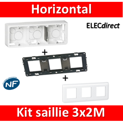 Legrand Mosaic -  Kit Cadre saillie 3 postes - 3x2 modules - horizontal - 078806+080286+080253