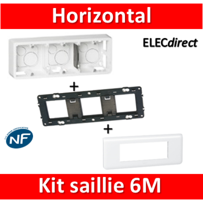 Legrand Mosaic -  Kit Cadre saillie 6 modules - horizontal - 078816+080286+080253