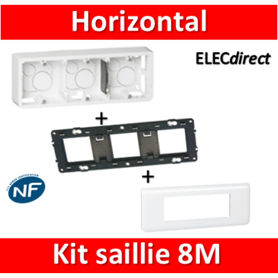 Legrand Mosaic -  Kit Cadre saillie 8 modules - horizontal - 078818+080286+080253