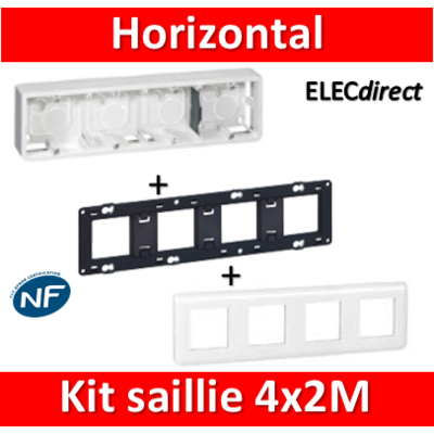 Legrand Mosaic -  Kit Cadre saillie 4 postes - 4x2modules - horizontal - 078808+080284+080254