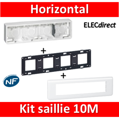 Legrand Mosaic -  Kit Cadre saillie 10 modules - horizontal - 078810+080284+080254