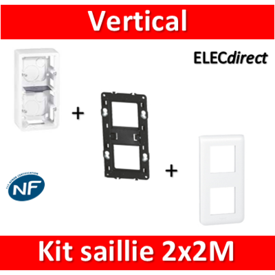 Legrand Mosaic -  Kit Cadre saillie 2 postes - 3x2 modules - vertical - 078822+080282+080252