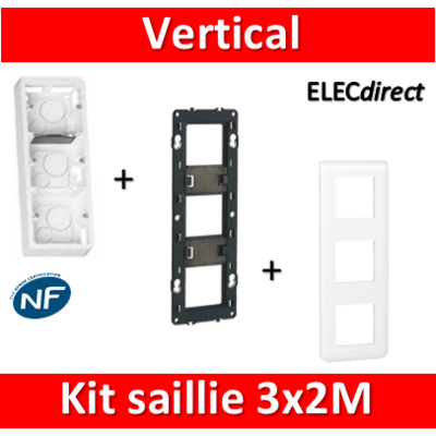 Legrand Mosaic -  Kit Cadre saillie 3 postes - 3x2 modules - vertical - 078823+080283+080253