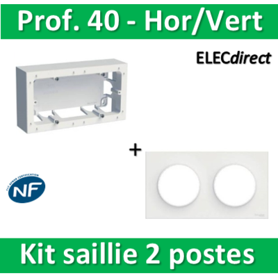 Schneider Odace - Kit Cadre saillie 2 postes + plaque - Hor/Vert - s520764+s520704
