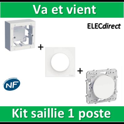 Schneider Odace - Kit Cadre saillie 1 poste complet - Va et vient - s520762+s520702+s520204