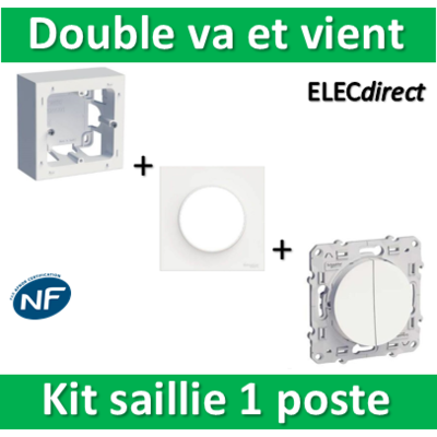 Schneider Odace - Kit Cadre saillie 1 poste complet - Double VV - s520762+s520702+s520214