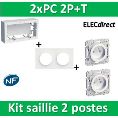 Schneider Odace - Kit Cadre saillie 2 postes - Hor/Vert - s520764+s520704+s520059x2