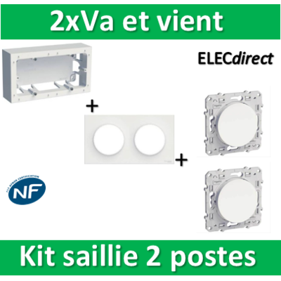 Schneider Odace - Kit Cadre saillie 2 postes - Hor/Vert - s520764+s520704+s520204x2