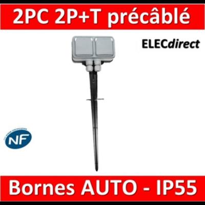 Legrand Plexo - Prise de courant 2x2P+T précâblé 16A 230V + piquet de jardin - IP55/IK07 - 069749