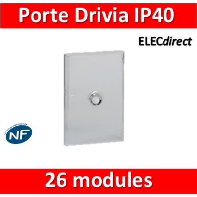 Legrand - Porte Drivia transparente 26 modules IP40 - IK07 pour coffret 401212 - 401342