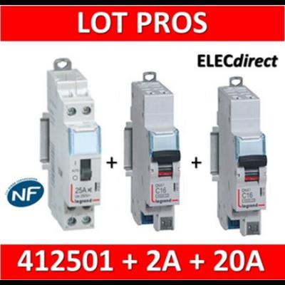 Legrand - LOT PROS - Contacteur CX3 J/N heures creuses + disjoncteur 2A DNX3 + disjoncteur 20A DNX3 - 412501+406780+406784
