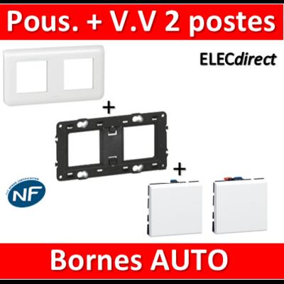 Legrand Mosaic - Poussoir + Va et vient complet - 2 postes (4M) - 230V