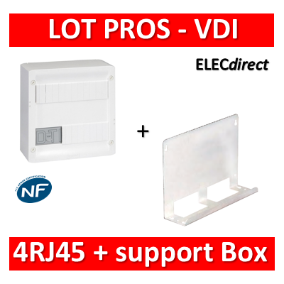 Legrand - Coffret VDI GRADE 1 et 2 - 4 RJ45 + support BOX Tonna - 413218+828080