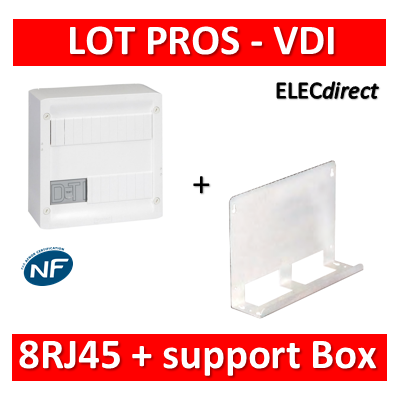 Legrand - Coffret VDI GRADE 1 et 2 - 8 RJ45 + support BOX Tonna - 413219+828080