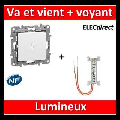 Legrand Niloé - Va et Vient 10A + voyant lumineux - 0.15mA - Blanc - 664710+665090