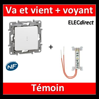 Legrand Niloé - Va et Vient 10A + voyant témoin - 3mA - Blanc - 664710+665091