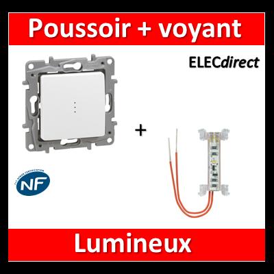 Legrand Niloé - Poussoir 6A + voyant lumineux - Blanc - 664726