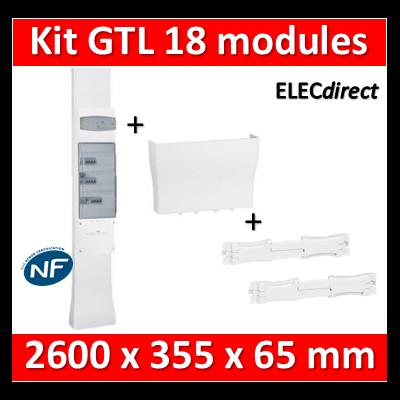 Legrand - Kit GTL 18M - 65 x 355 mm - Avec 2 couvercles complet - long. réglable - 2,45 à 2,60m - 030067