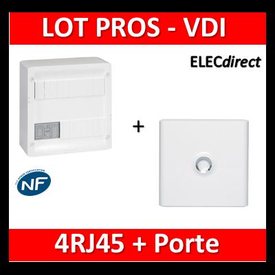 Legrand - Coffret VDI GRADE 1 et 2 - 4 RJ45 + Porte Drivia 13M - 413218+401331