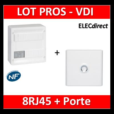 Legrand - Coffret VDI GRADE 1 et 2 - 8 RJ45 + Porte Drivia 13M - 413219+401331