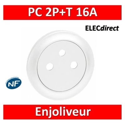 Legrand Céliane - Enjoliveur PC 2P+T blanc - affleurant - Surface - 068111