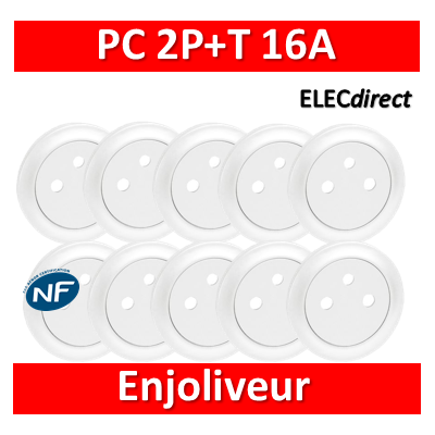 Legrand Céliane - Enjoliveur LOT PROS - PC 2P+T blanc - Surface - 068111x10