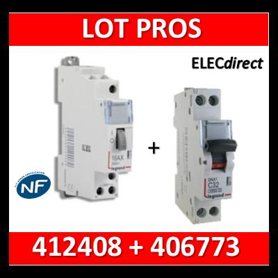 Legrand - Télérupteur CX3 - Unipolaire 16A - 230V + disjoncteur 10A DNX3 - 412408+406773